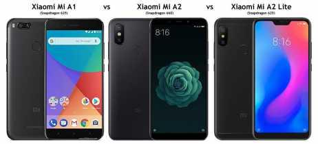 Comparativo entre Xiaomi Mi A2 vs Xiaomi Mi A2 Lite vs Xiaomi Mi A1