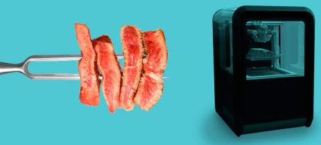 Bife vegano produzido com impressora 3D