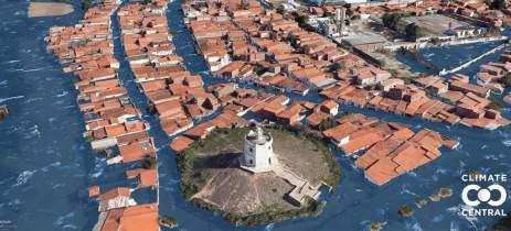 Veja como ficariam cidades embaixo da água se oceano subir