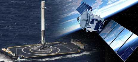 Booster do foguete usado no quinto lançamento de satélites Starlink ficou no oceano