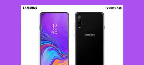 Imagens renderizadas do Galaxy A8s aparecem revelando um recorte na tela pra câmera