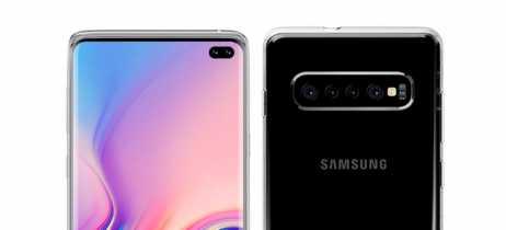 Galaxy S10 Plus aparece com câmera quádrupla em anúncio de capa protetora