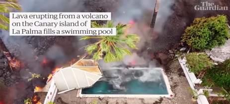 Drones mostram lava de vulcão engolindo dezenas de casas em La Palma