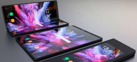 Novas renderizações 3D do smartphone dobrável da Samsung foram divulgadas