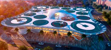 Uber mostra conceitos de aeroportos futuristas para carros voadores