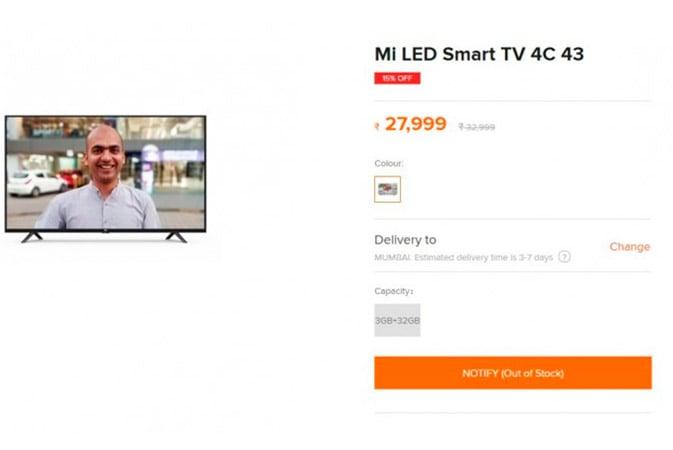 TV Mi LED 4C da Xiaomi aparece na loja online antes de seu