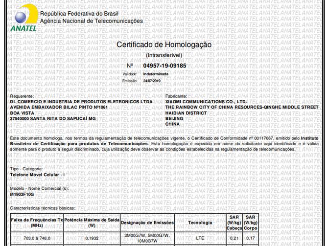 homologação do xiaomi mi 9t para venda no brasil