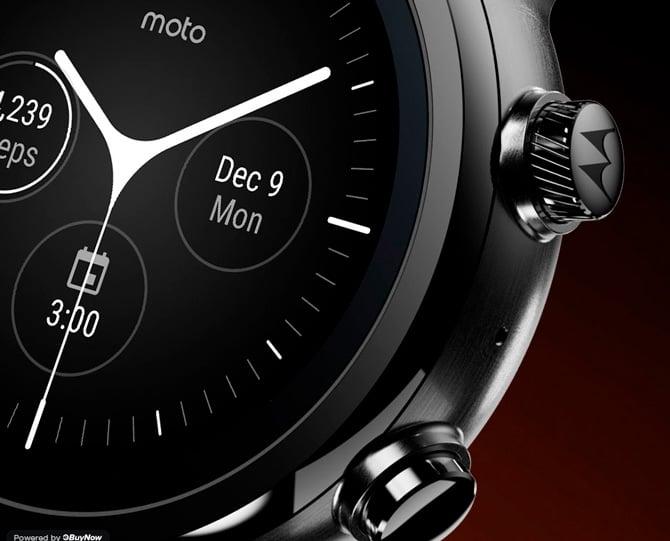 Imagem do Moto 360 mostrando os botões laterais