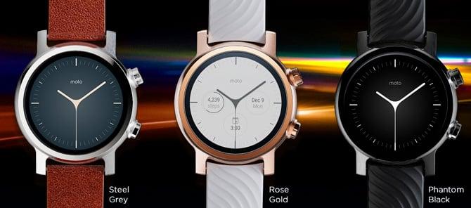 Imagem das três cores disponíveis no Moto 360