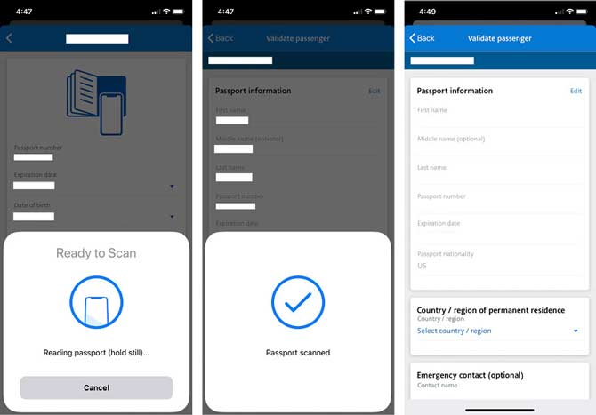 American Airlines Launches Passport Scanning by Application