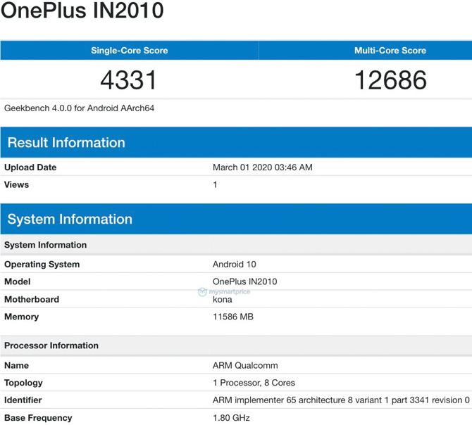 OnePlus 8 5G com 12GB RAM e Snapdragon 865 aparece no Geekbench