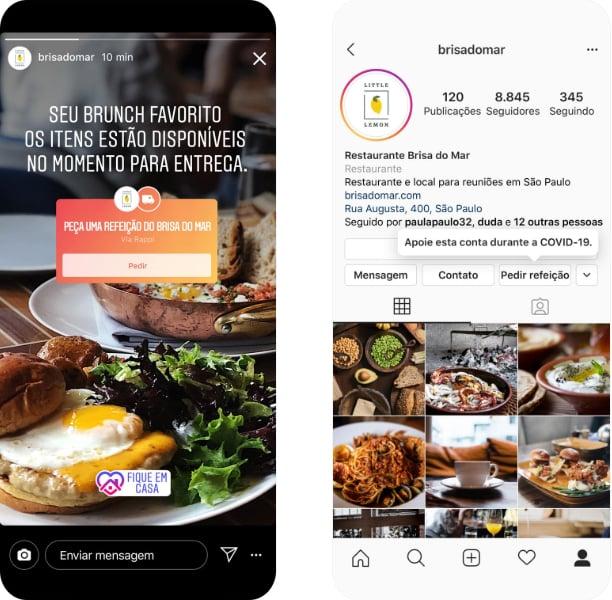 Uber Eats e Rappi agora aceitam pedidos de refeições através do Instagram