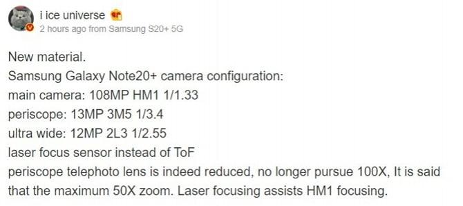Samsung Galaxy Note 20+ pode vir com câmera de 108MP e com zoom de 50x [Rumor]