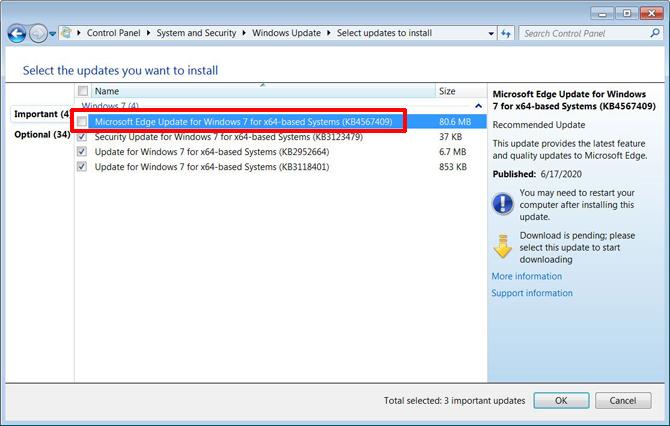 Microsoft Edge baseado no Chromium chega ao Windows 7 via Windows Update