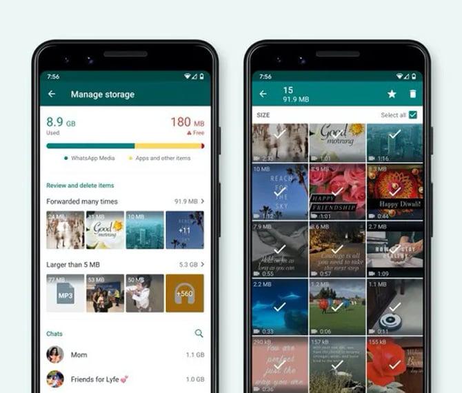 WhatsApp ganha novo gerenciador de armazenamento que facilita a remoção de arquivos encaminhados