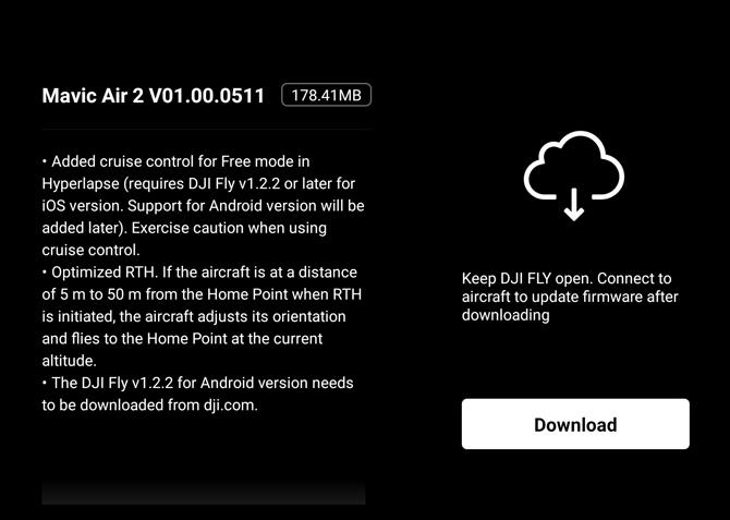 Drone DJI Mavic Air 2 recebe atualização v01.00.0511 com melhorias e otimizações