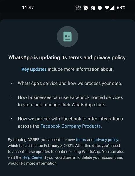 WhatsApp permitirá compartilhamento de dados com o Facebook