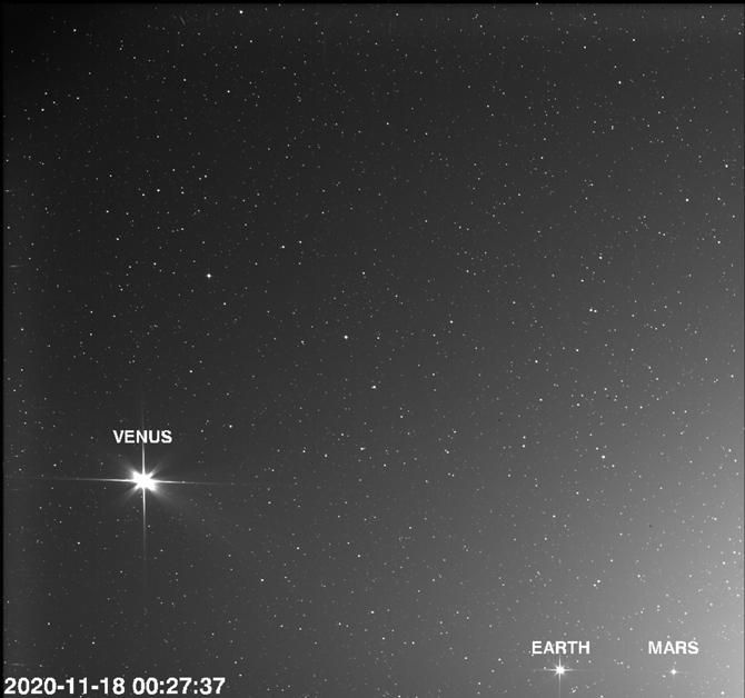 Câmera da sonda Solar Orbiter filma Terra, Vênus e Marte