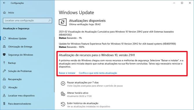 Windows 10 21H1 será uma atualização menor para o sistema operacional