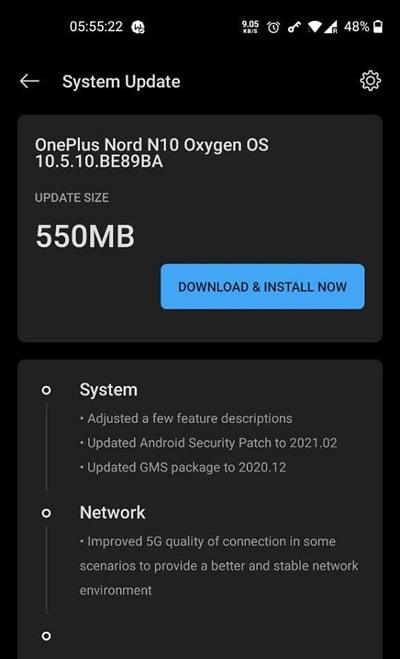 OnePlus Nord N10 recebe OxygenOS 10.5.10 com patch de segurança e otimizações no 5G