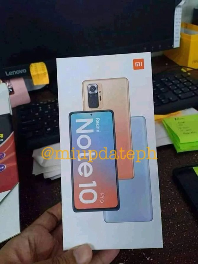 Foto da caixa do Redmi Note 10 Pro revela o design do smartphone