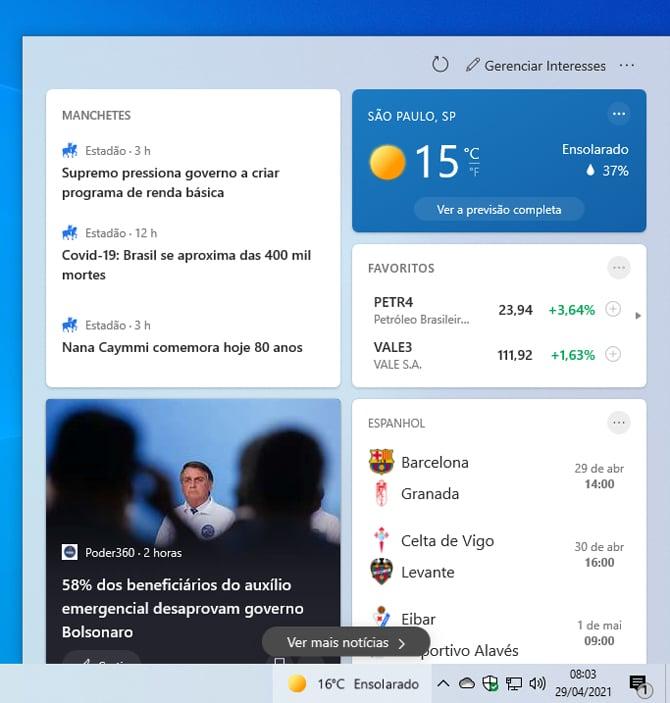Update para o Windows 10 20H2 e v2004 introduz o recurso Notícias e Interesses
