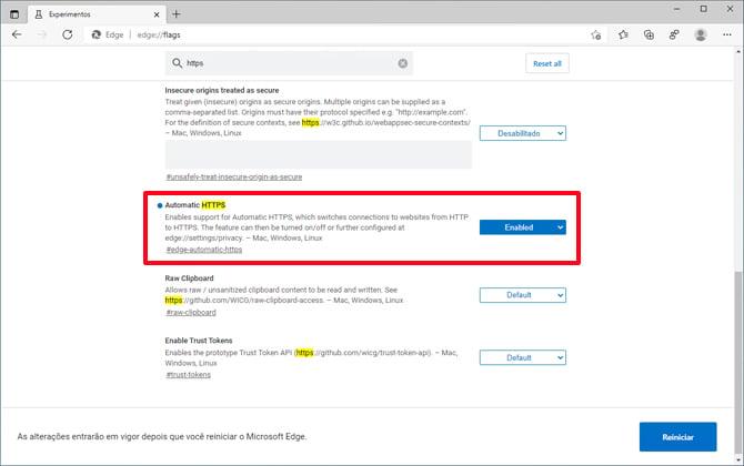 Microsoft Edge usará HTTPS como padrão em vez de HTTP
