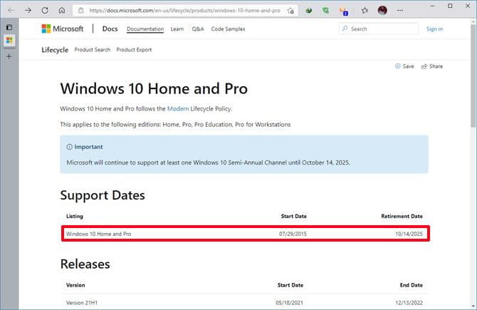 Microsoft encerrará o suporte para o Windows 10 em 14 de outubro de 2025