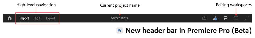 Nova barra de cabeçalho do projeto