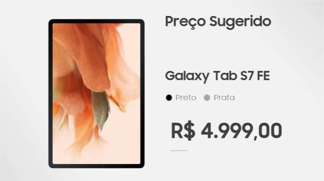 Samsung lança o tablet Galaxy Tab S7 FE no Brasil