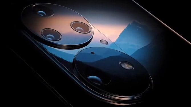 Detalhe das lentes do novo smartphone Huawei P50