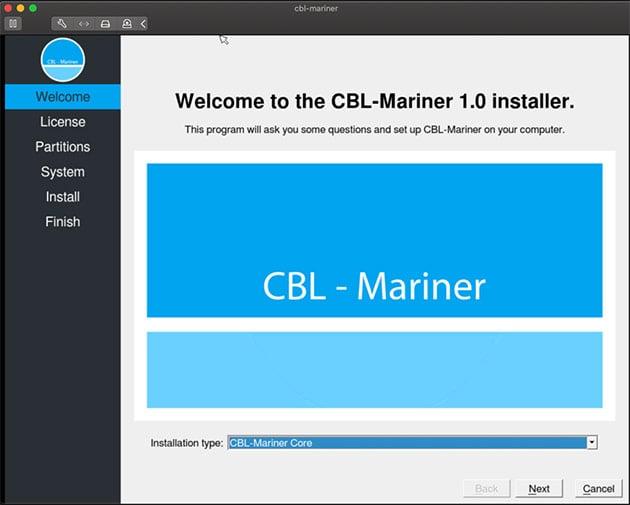 Captura de tela da interface de instalação do Linux CBL-Mariner