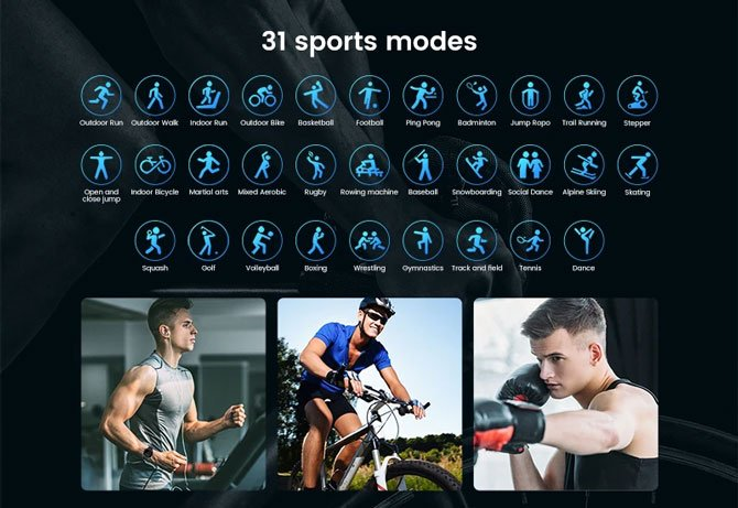 Modos esportivos do Kospet