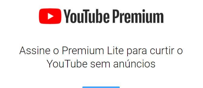Descrição da nova assinatura YouTube Premium Lite