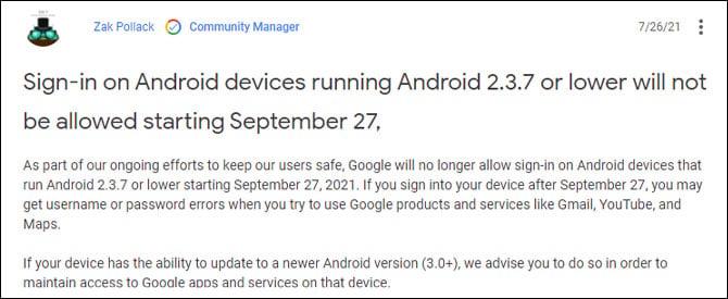 Aparelhos com Android 2.3.7 ou inferiores serão bloqueados dos serviços Google