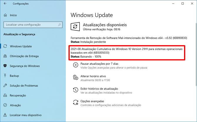 Update de agosto do Windows 10 corrige bugs e a vulnerabilidade PrintNightmare