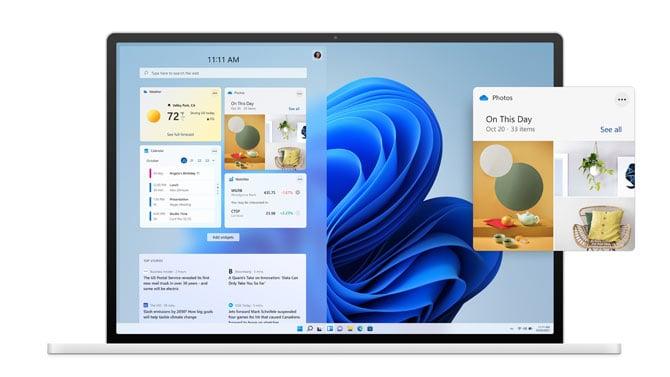 Tela de Widgets no Windows 11