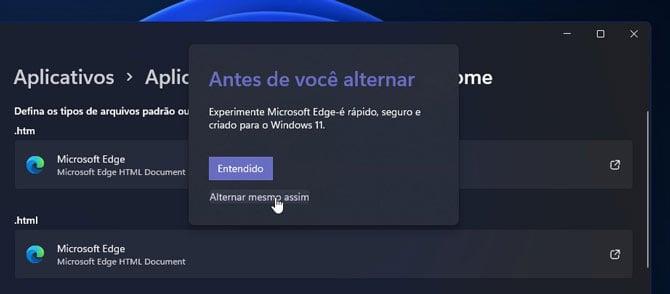 Tela de aplicativos padrão do Windows 11