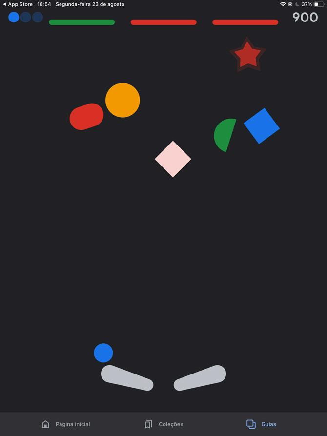 Tela de Pinball no iPad