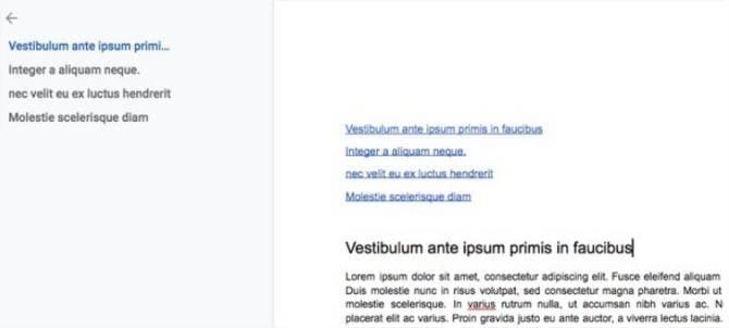 Índice com hiperlinks em documento do Google Docs