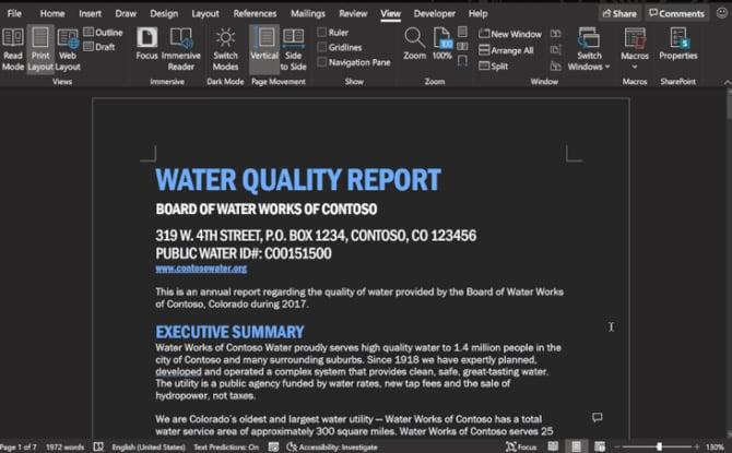 Word com modo escuro no Office 365