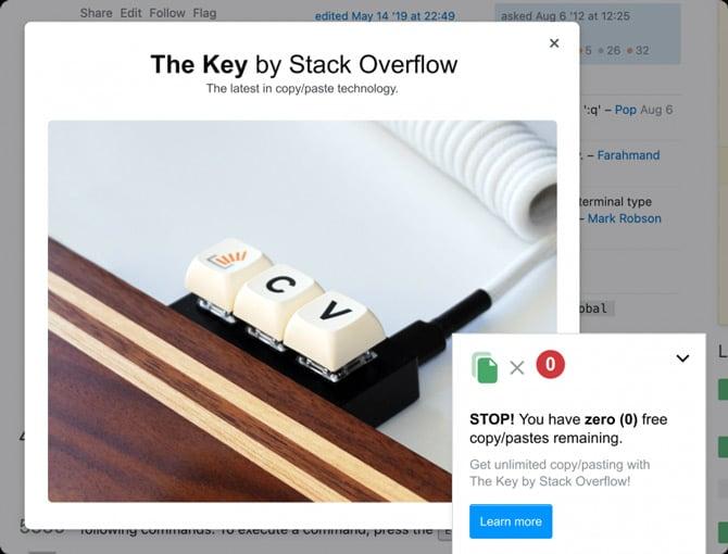 Pegadinha de primeiro de abril do Stack Overflow e Teclado The Key
