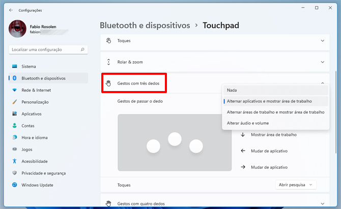 Windows 11: como desabilitar os gestos de touchpad