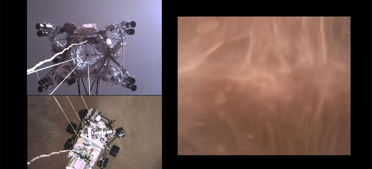 NASA libera vídeo com áudio mostrando pouso do rover Perseverance em Marte