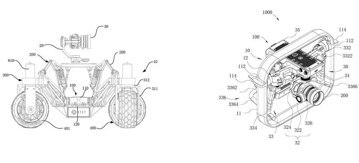 Novas patentes da DJI mostram estabilizador e veículo de transporte
