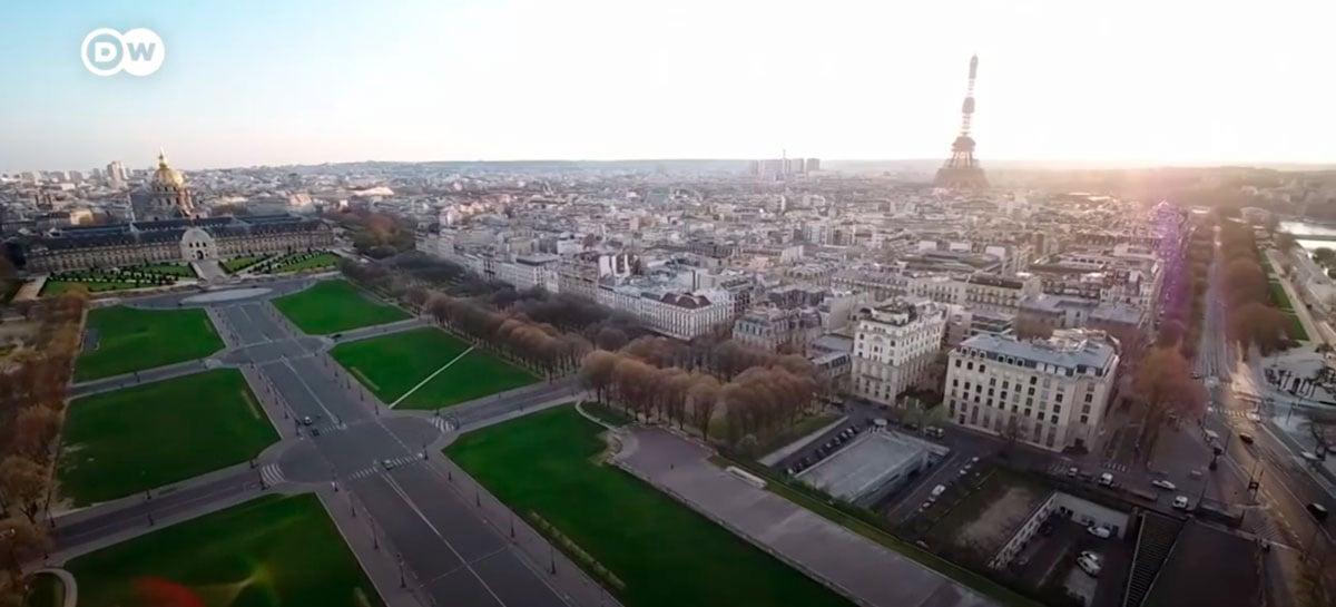 Imagens feitas por drone mostram Paris deserta durante quarentena do Coronavírus