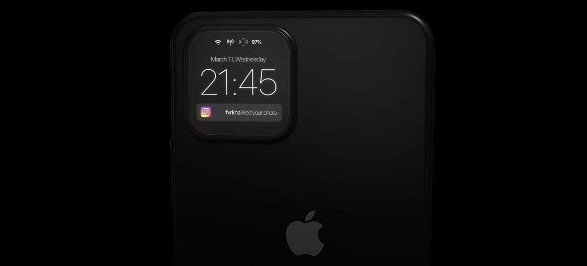 Conceito de iPhone traz segundo display em câmeras traseiras