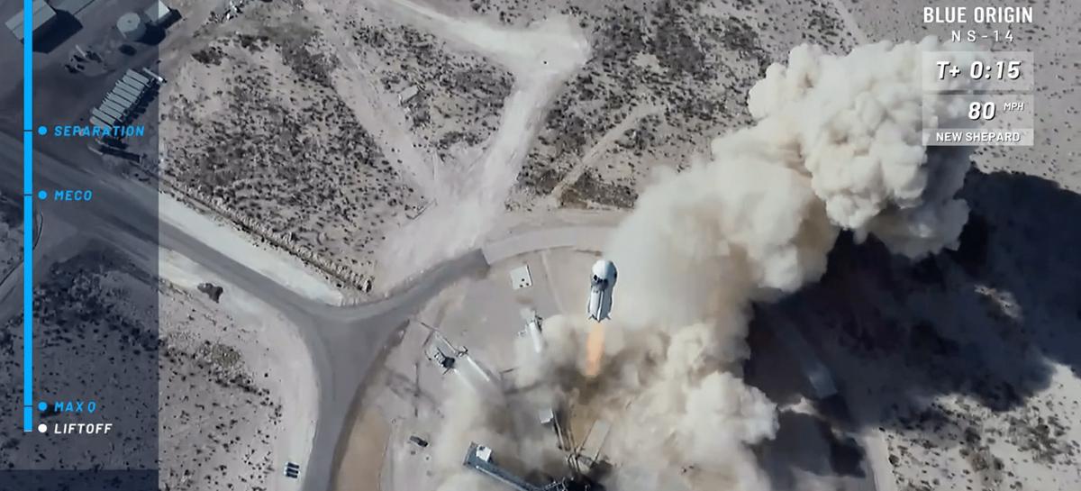 Drones da DJI capturam decolagem de foguete da Blue Origin