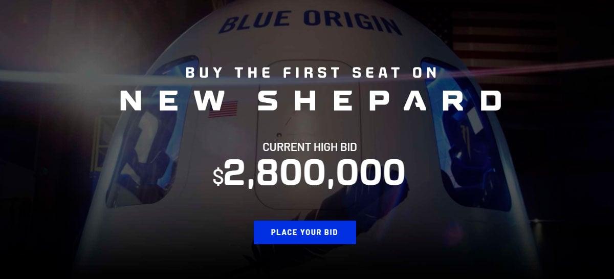 Leilão do primeiro acento da Blue Origin está em US$ 2,8 milhões