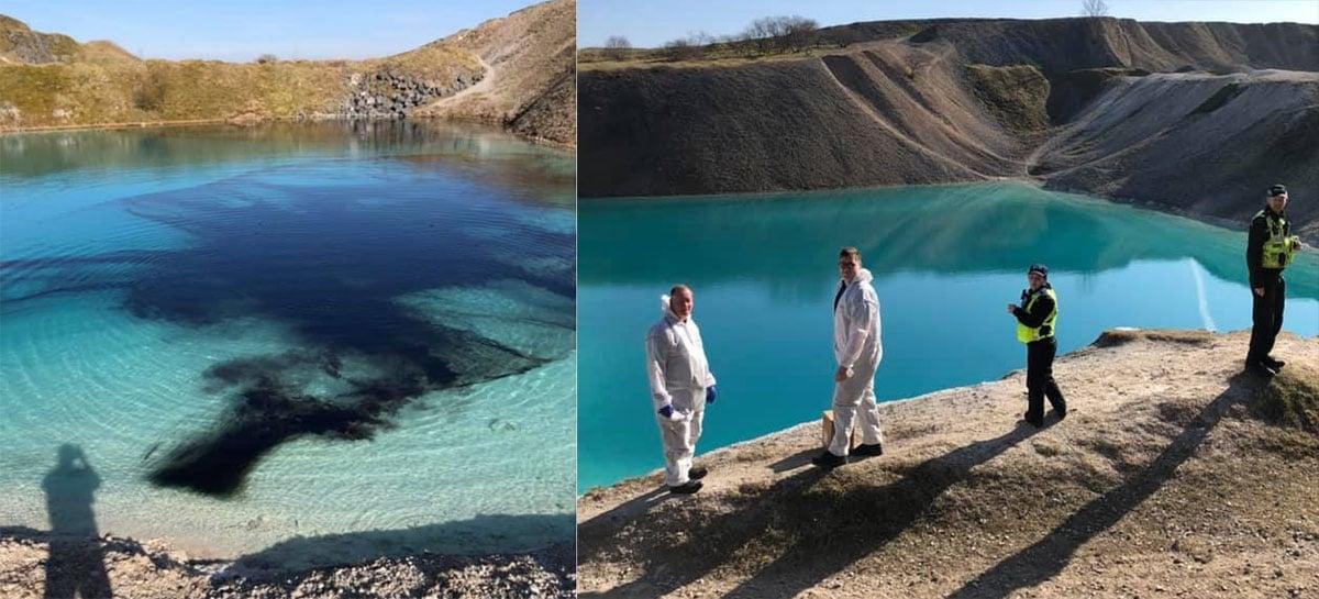 Polícia de Buxton tinge Blue Lagoon de preto para manter turistas em casa